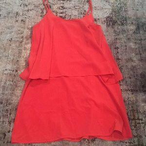 Everly Orange Layered Tank Dress